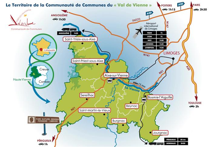 Carte du territoire du Val de Vienne - économie