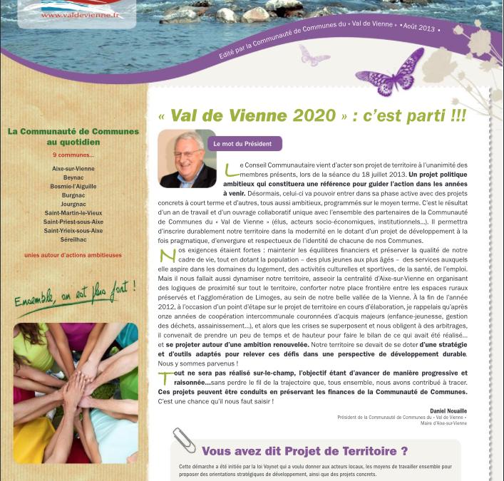 Edition spéciale – projet Val de Vienne 2020 – été 2013