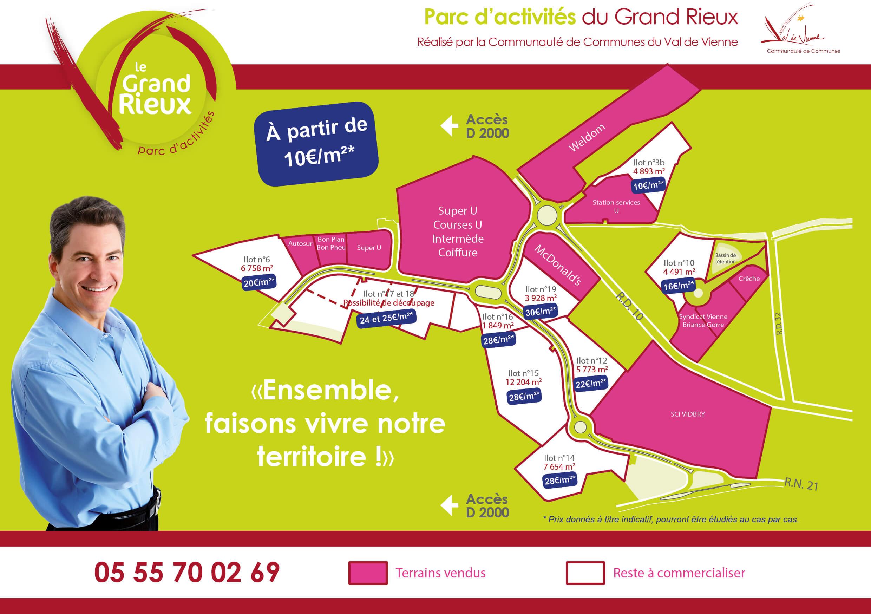 Zone d'activités du Grand Rieux Aixe sur Vienne terrains disponibles